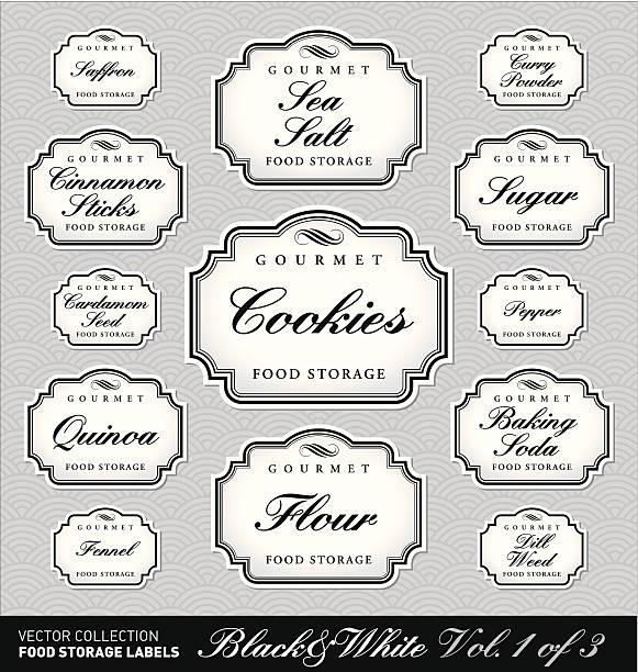 vintage lagerraum für lebensmittel etiketten-set (vektor) - retroküchen stock-grafiken, -clipart, -cartoons und -symbole