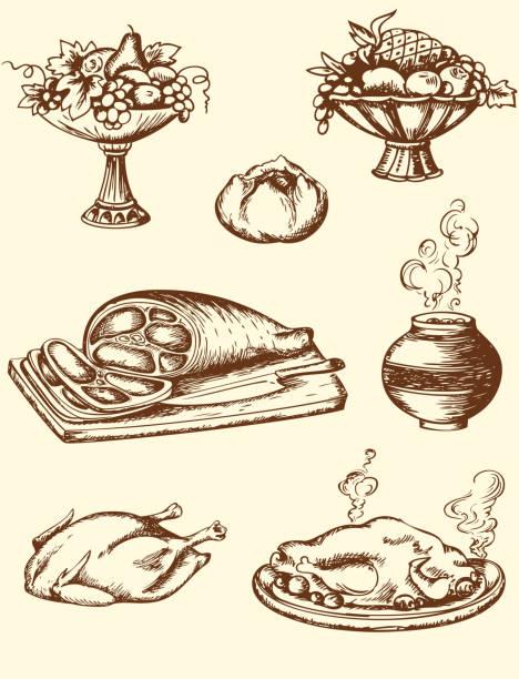 vintage-speisen - schweinebraten stock-grafiken, -clipart, -cartoons und -symbole