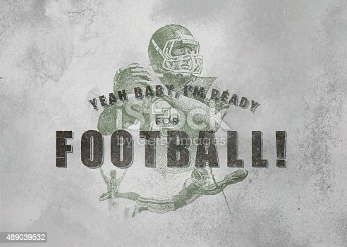 Vintage Football emblem with textured paper background and retro typography. Quarterback passing  to a wide receiver for a touchdown.