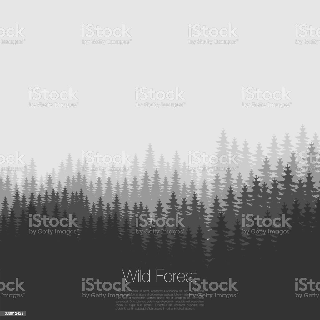 Vintage forest design template. Vector. Coniferous  silhouette . Woods illustration ベクターアートイラスト