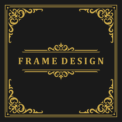 Vintage frame border ornament and vignettes swirls decoration with divider template vector illustration. Victorian border for greeting card or wedding invitation other design and place for text.