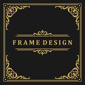 istock Vintage frame border ornament and vignettes swirls decoration with divider template vector illustration 1269856470