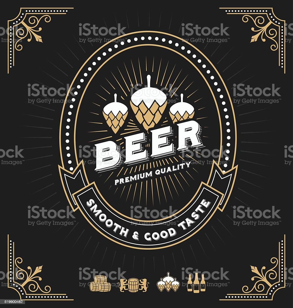 Vintage frame design for beer labels vector art illustration
