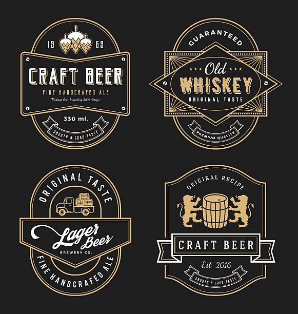 vintage frame design for labels, banner, sticker and other design. - alcohol drink borders stock illustrations