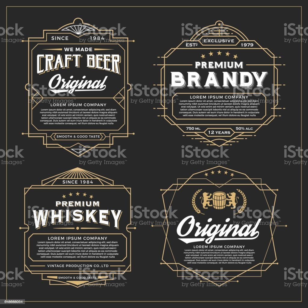 Vintage frame design for labels design vector art illustration