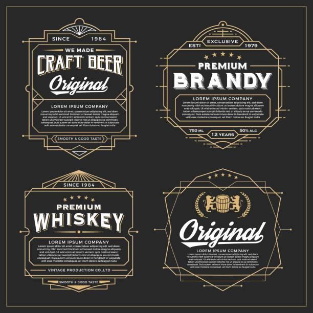 vintage frame design for labels design - alcohol drink borders stock illustrations