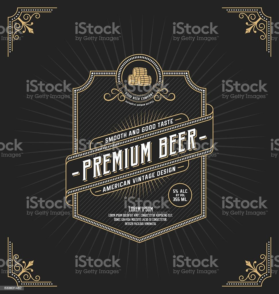 Vintage frame design for labels vector art illustration