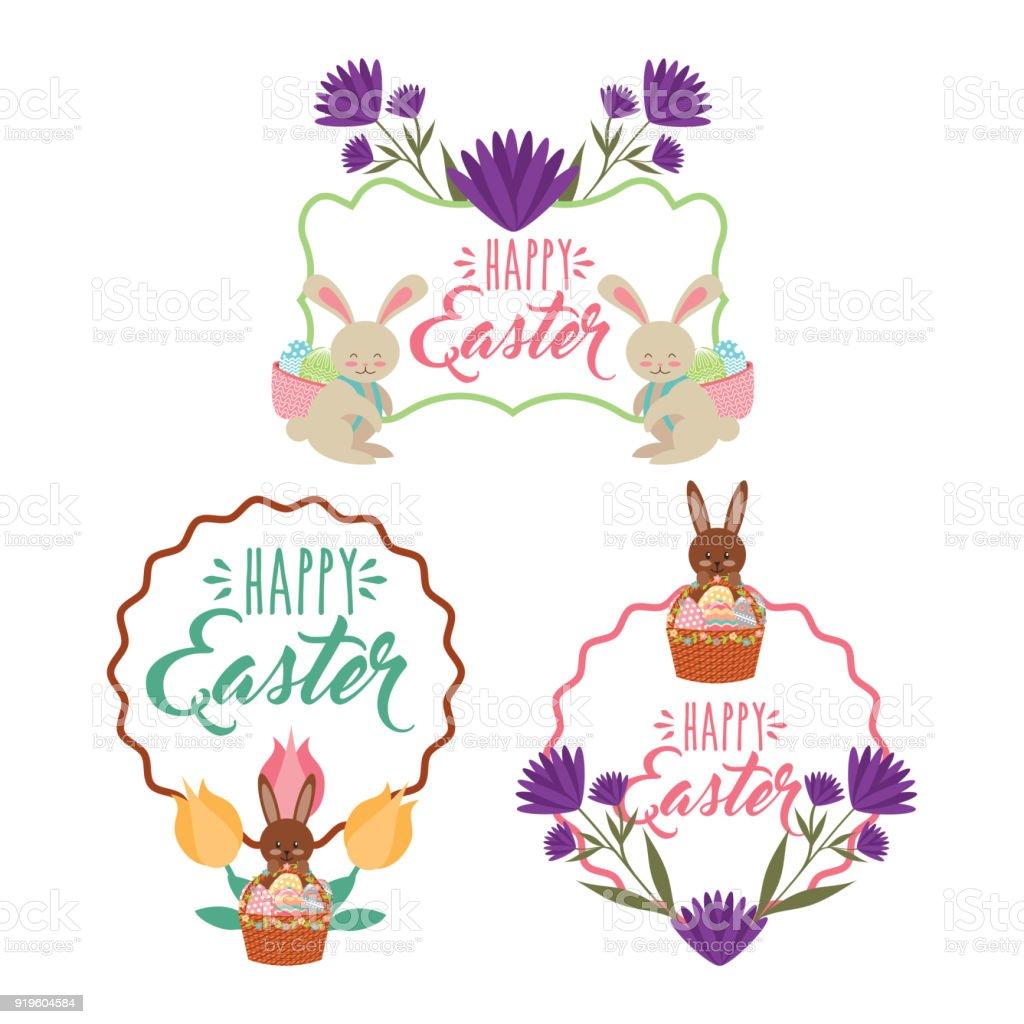 Vintagerahmen Blumenschmuck Kaninchen Korb Mit Eiern Dekoration ...