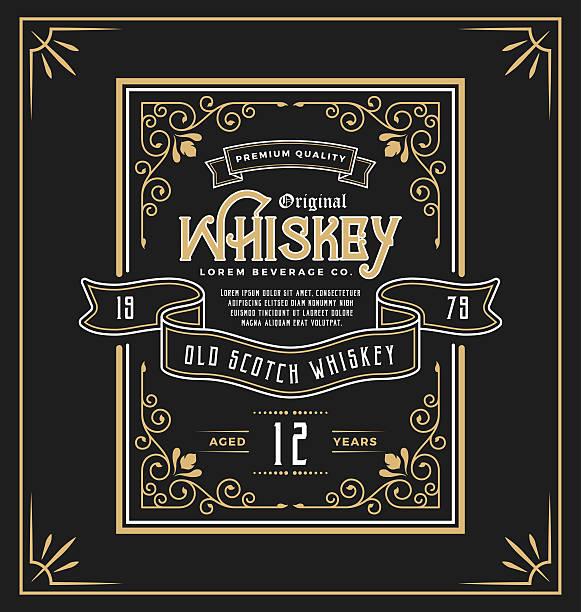 vintage frame label for whiskey and beverage product - alcohol drink patterns stock illustrations
