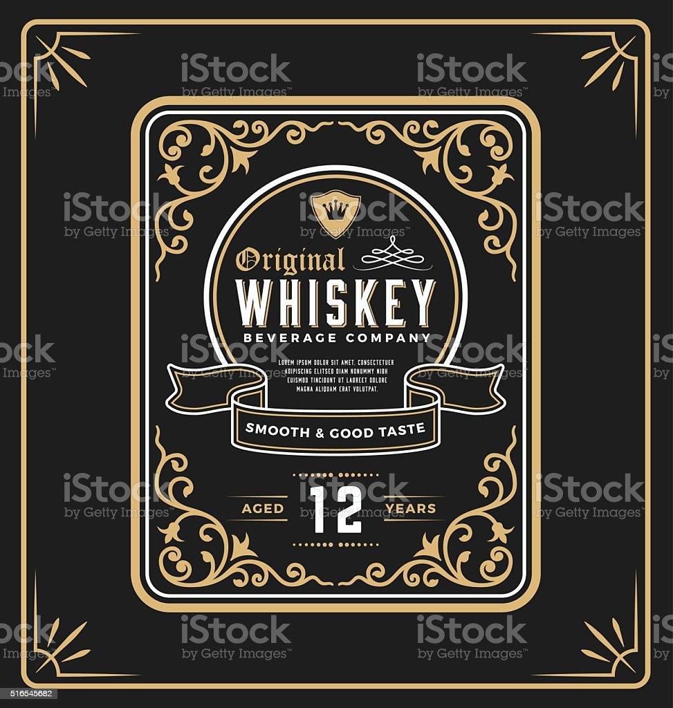 Vintage frame label for whiskey and beverage product vector art illustration