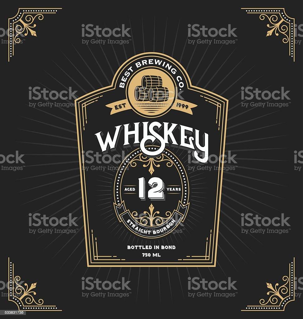 Vintage frame label for whiskey and beverage vector art illustration