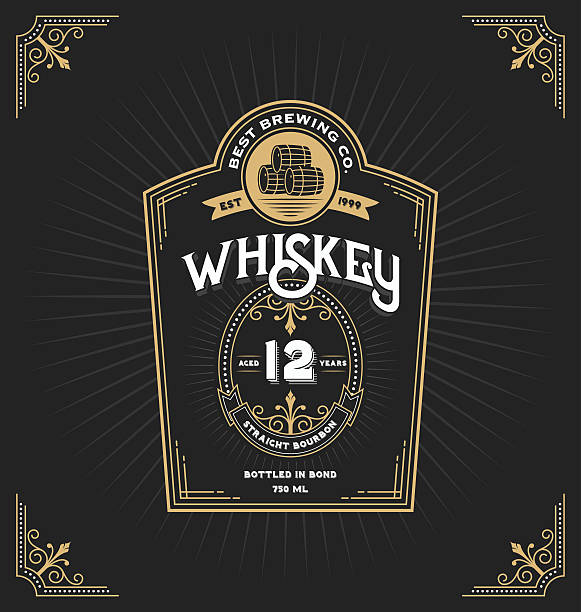 vintage frame label for whiskey and beverage - alcohol drink borders stock illustrations
