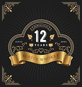 Vintage frame label template suitable for anniversary, whiskey, wine, shop banner and other design. Vector illustration