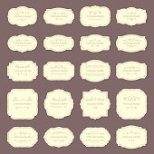 Vintage frame labels. Rectangle and oval wedding frames ribbon retro elegant sticker sign. Antique label from victorian tag store with revival border vector isolated icon set