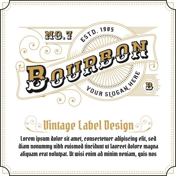 vintage frame logo design - alcohol drink patterns stock illustrations