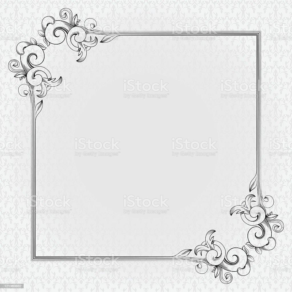 Vintage frame on seamless damask background royalty-free vintage frame on seamless damask background stock vector art & more images of color image