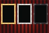 Vector file of Gold, White, Black Vintage frame on Red Wallpaper