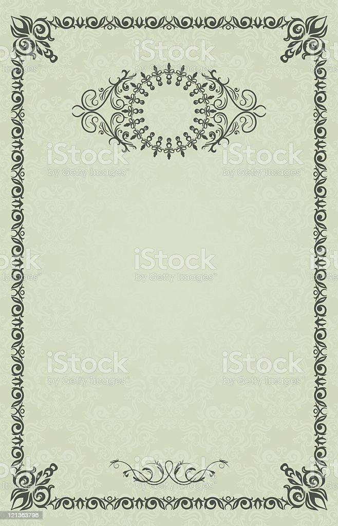 Vintage Frame Or Blank For Diploma On Damask Background Stock Vector ...