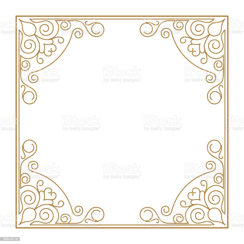 db954d8275a76 Diseño de plantillas de marco Vintage retro decoración esquina. Marco oro  con línea de la