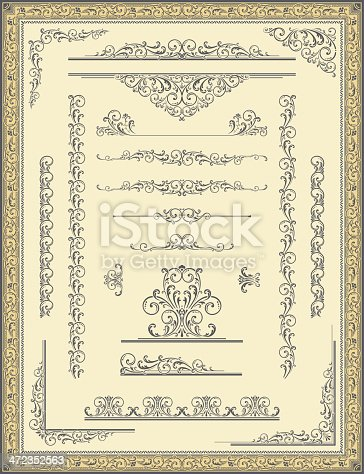 istock Vintage Frame, Scroll Elements and Corners 472352563
