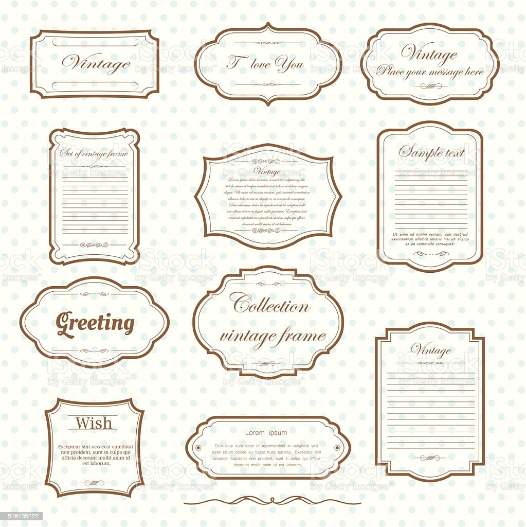 vintage frame set vector art illustration