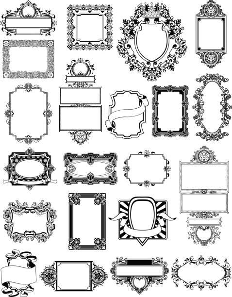 Vintage Frame Set – artystyczna grafika wektorowa