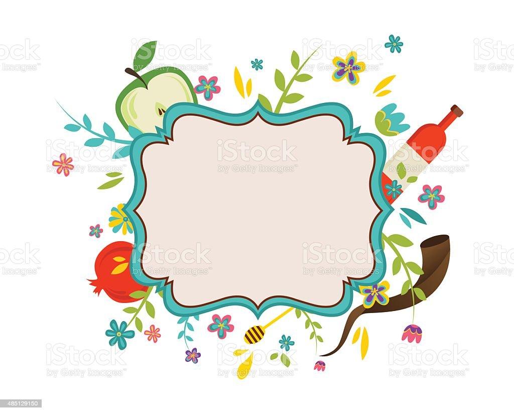 vintage frame surrounding with flowers and Rosh Hashana symbols vector art illustration