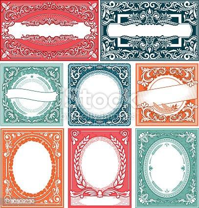 istock Vintage frame vector retro card border victorian design decorati 1180509230