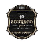 istock Vintage frame whiskey label design, vector beverage bourbon logo label. 1207724679