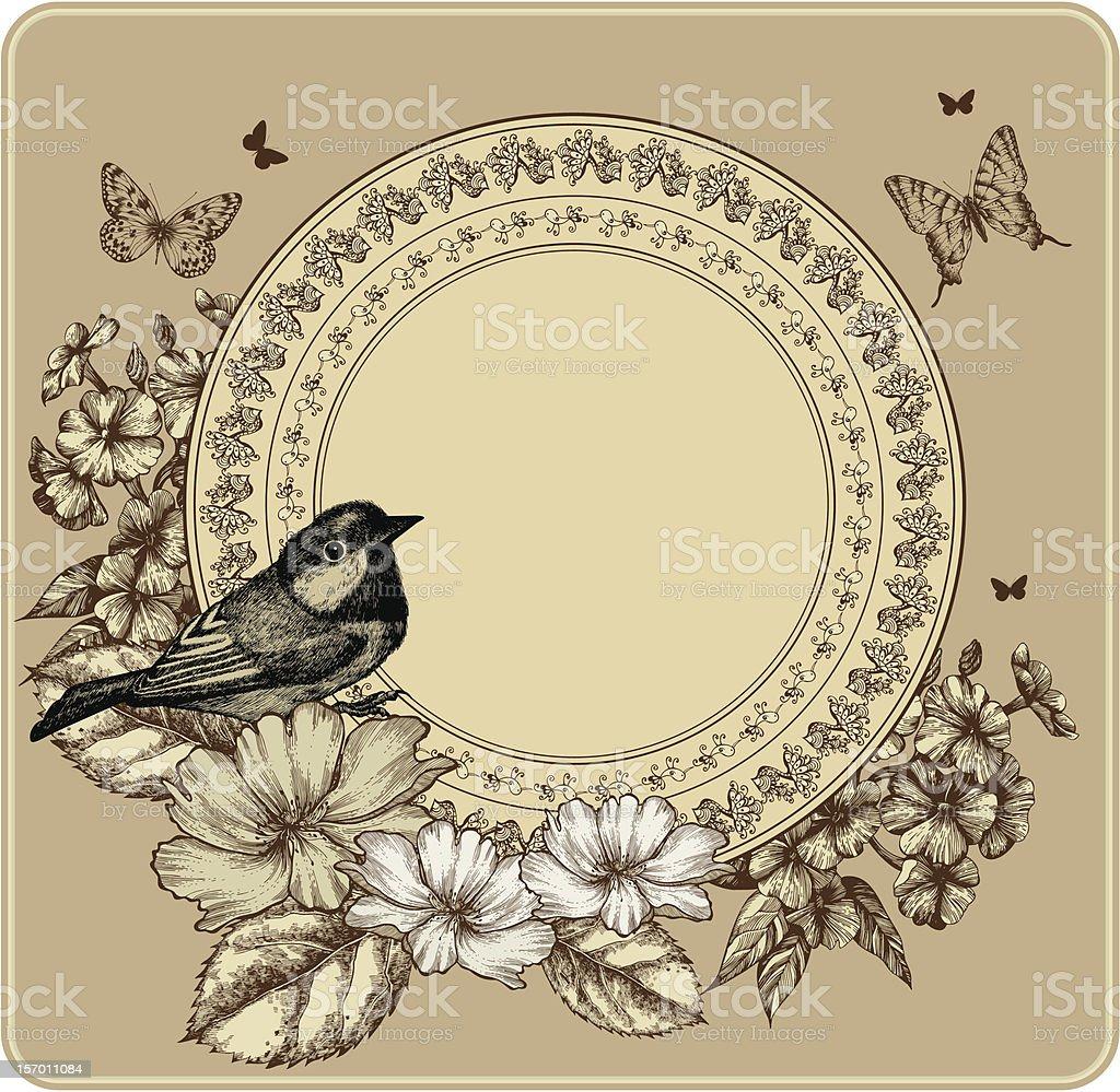 Ilustración de Marco Vintage Con Aves Y Rosas Phlox Radiante y más ...