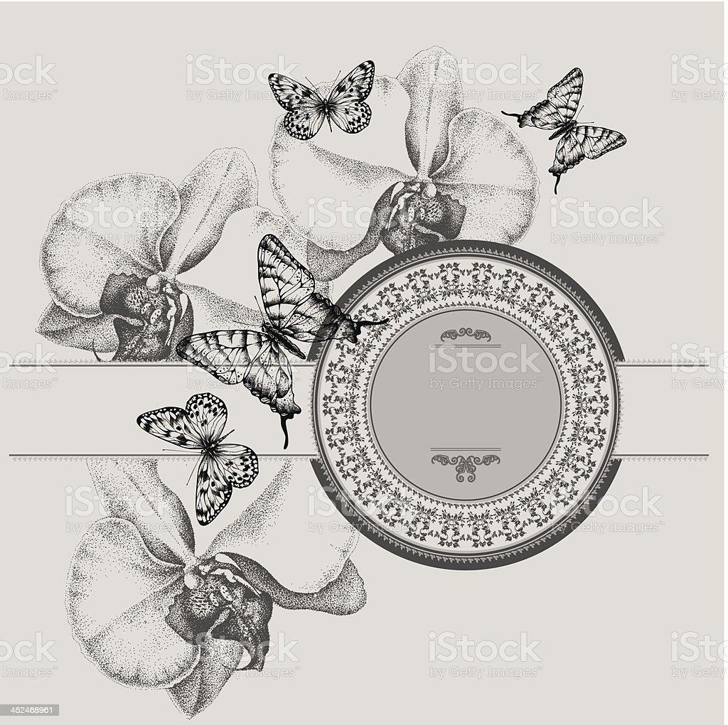 Cornice Depoca Con Fioritura Orchidee E Farfalle Disegno A Mano