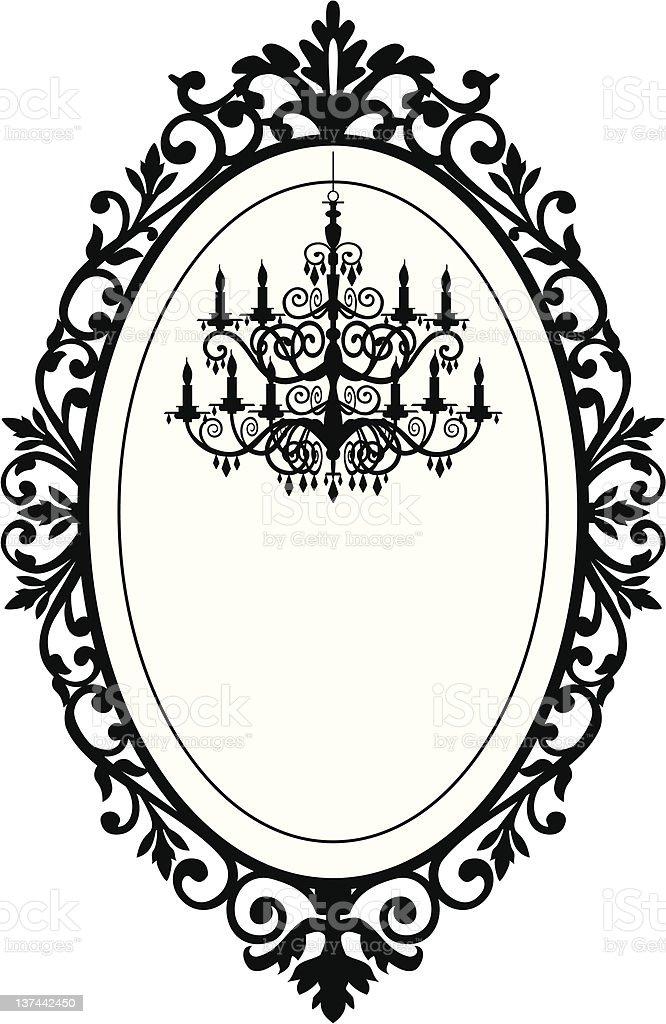 Vintage frame with chandelier vector art illustration