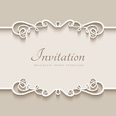 Vintage frame with cutout paper borders on ornamental beige background, wedding invitation or save the date card template with place for text
