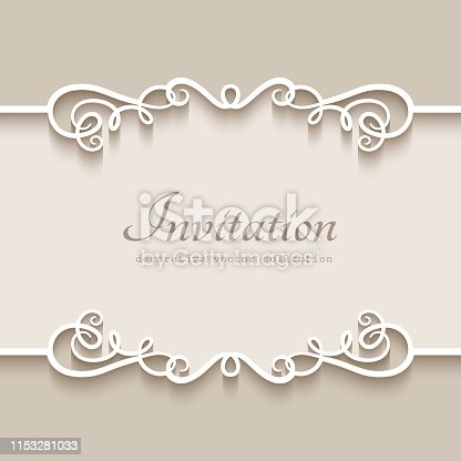 istock Vintage frame with cutout paper borders 1153281033