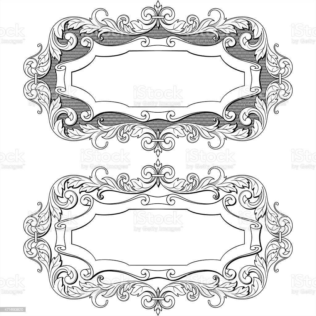 vintage frame with floral ornament label, vector illust vector art illustration
