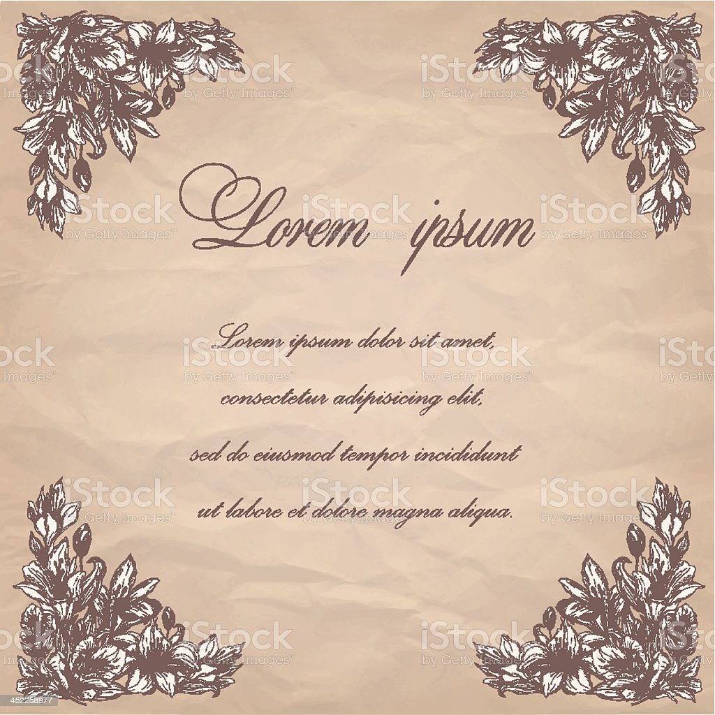 vintage frame with hand drawn flowers royalty-free stock vector art