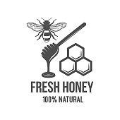 Vintage honey label, badge, logotype and design elements