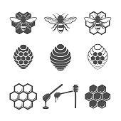 Vintage honey and design elements, apiary, bee, honey honeycomb