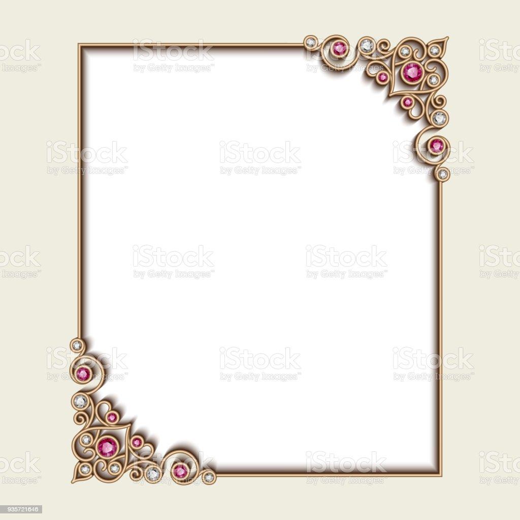 cadre vintage avec des motifs de coin bijoux – cliparts vectoriels