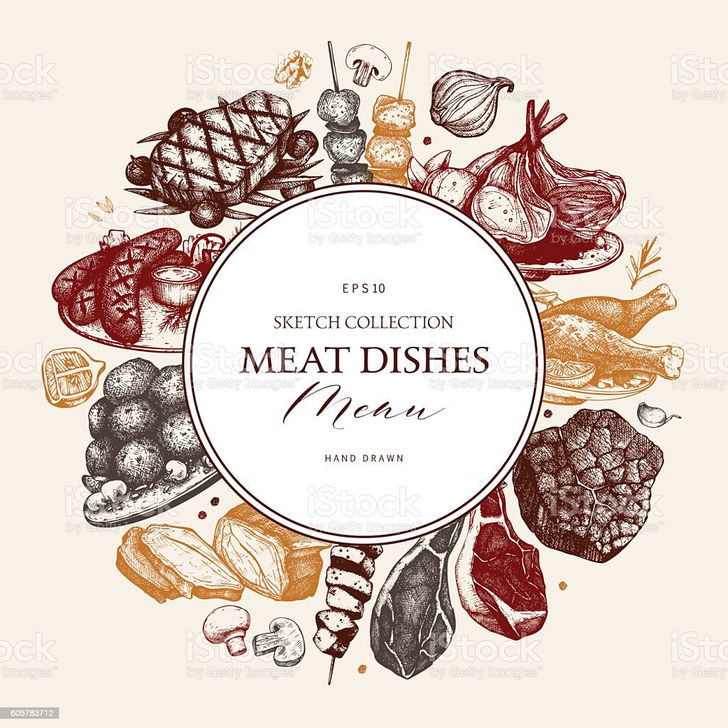 Vintage frame with meat products sketch. vector art illustration
