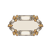 istock Vintage frame with scrolled edges and oak leaves vector illustration isolated. 1208855677