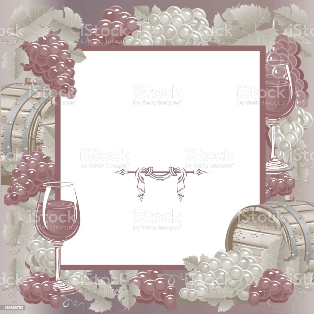 Vintage frame with wine and grapes. Vector illustration.