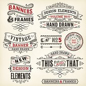 istock Vintage frames and banners hand drawn 482673881