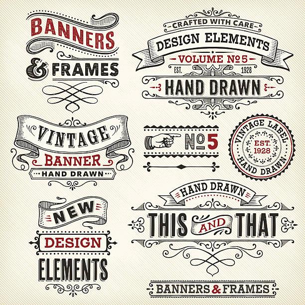 빈티지 프레임 및 배너 위한 수작업 - 오래된 stock illustrations