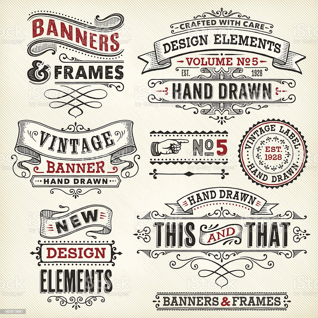 Vintage frames and banners hand drawn vector art illustration