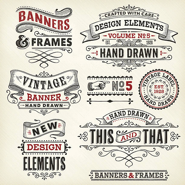 vintage frames and banners hand drawn - retro and vintage frames stock illustrations, clip art, cartoons, & icons