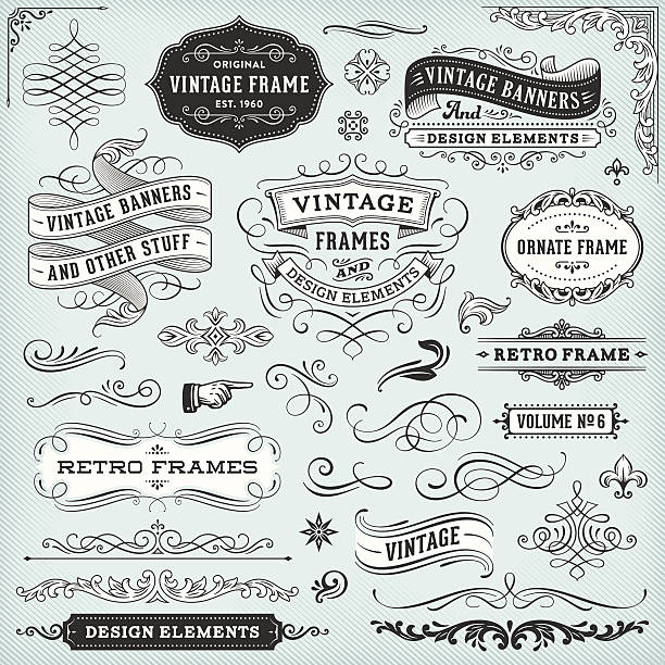 stockillustraties, clipart, cartoons en iconen met vintage frames and banners - tekstornament
