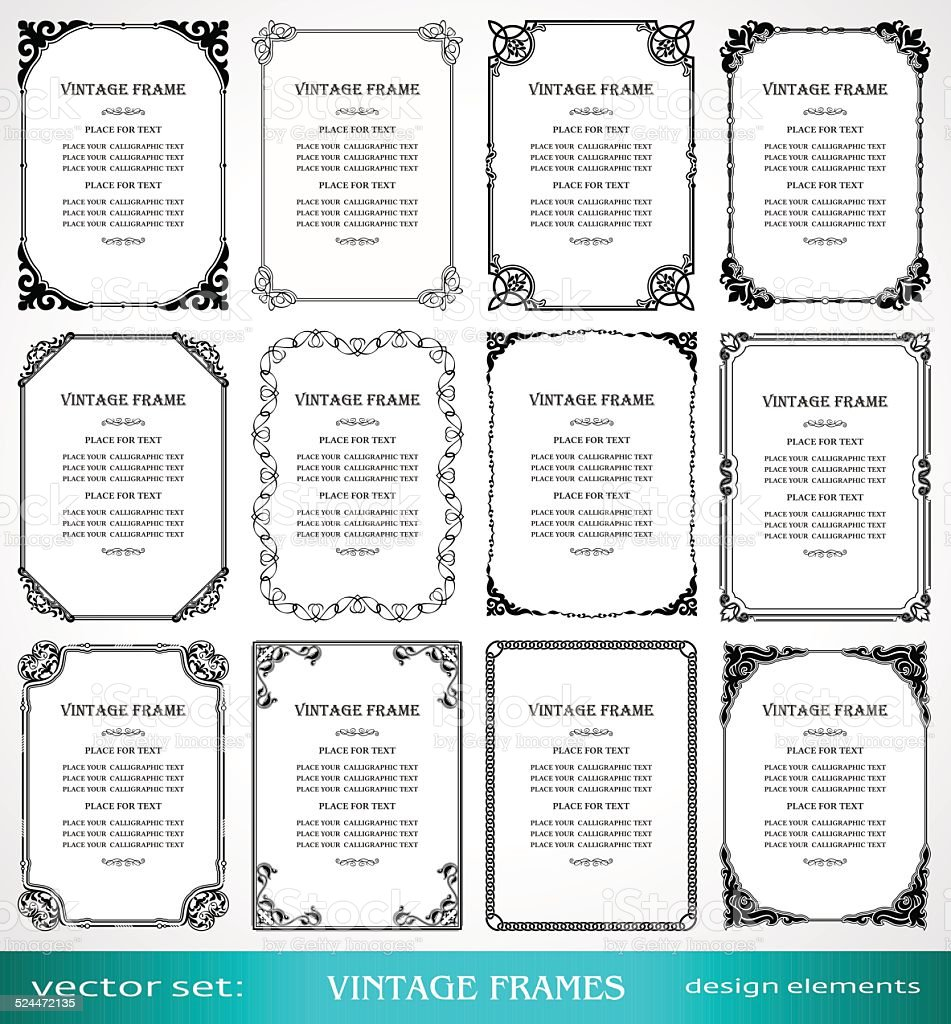 Vintage frames and borders set vector art illustration