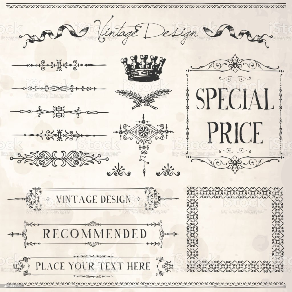 Vintage Frames and design elements royalty-free vintage frames and design elements stock vector art & more images of calligraphy