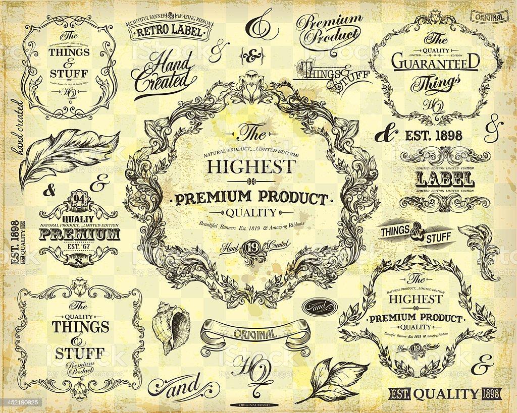 Vintage Frames and Design Elements royalty-free vintage frames and design elements stock vector art & more images of antique
